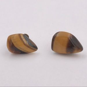 Vintage Natural Polished Stone Screw Back Earrings